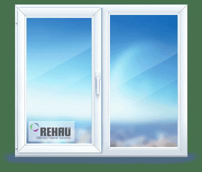 двухстворчатое окно rehau